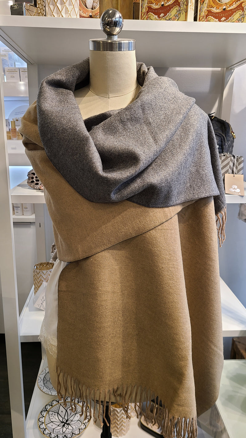 REVERSIBLE CASHMERE SCARF - DARK BROWN & GREY