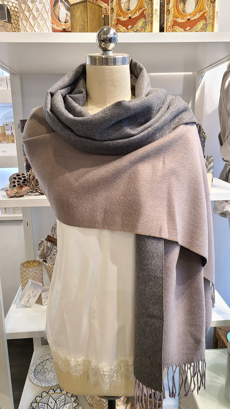 REVERSIBLE CASHMERE SCARF - BROWN & GREY