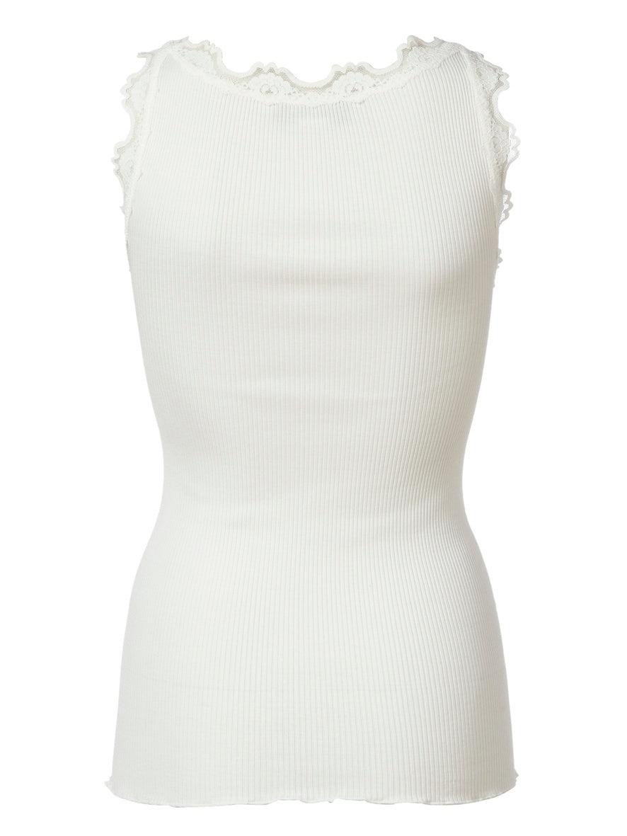 CLASSIC SILK TOP WITH LACE - WHITE