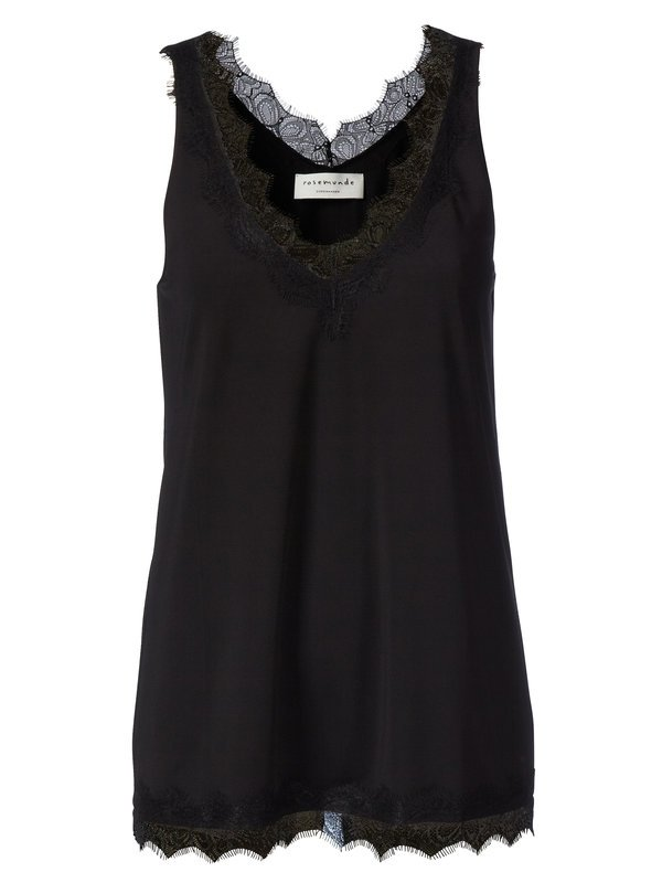 V-NECK TOP WITH LACE - BLACK