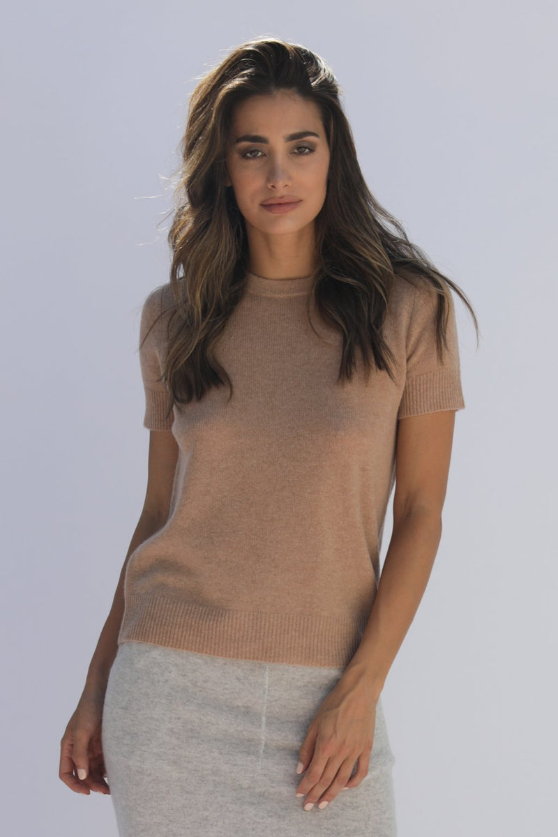 VEDRA CASHMERE TEE - CAMEL