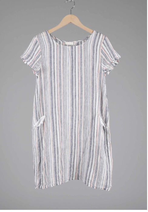 ESME LINEN TUNIC in MULTICOLORED STRIPES