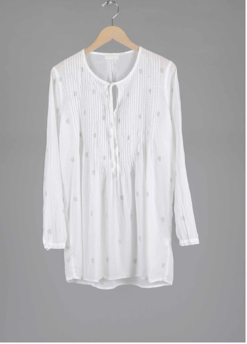 ANGEL TUNIC in WHITE WITH GOLD PRINT