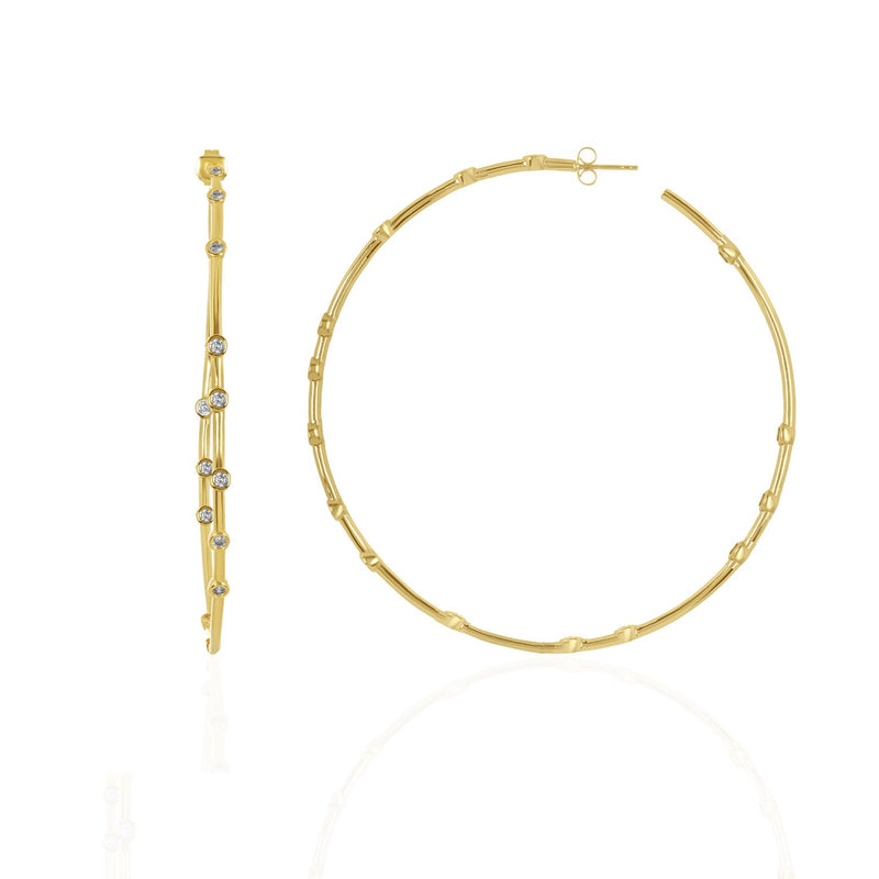 BIG ASS HOOPS GOLD/ROSE GOLD + WHITE DIAMONDETTES
