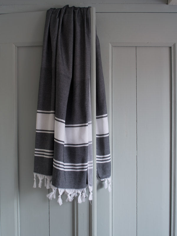 HONEYCOMB TOWEL BLACK/WHITE