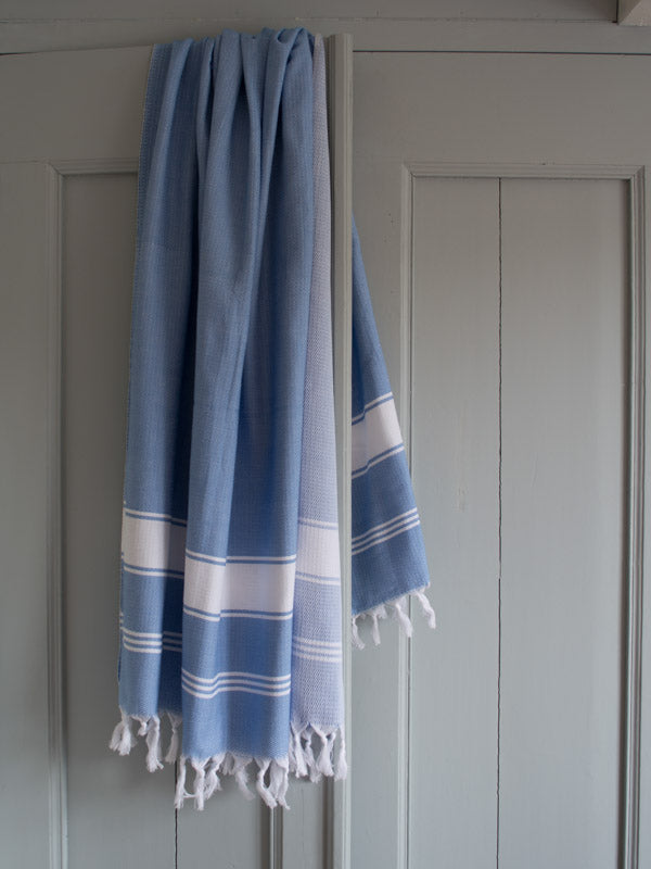 HONEYCOMB TOWEL BLUE/WHITE