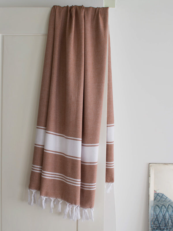HONEYCOMB TOWEL BROWN/WHITE