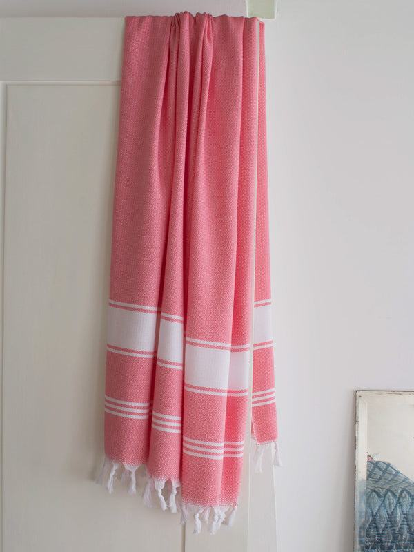 HONEYCOMB TOWEL CANDY PINK/WHITE