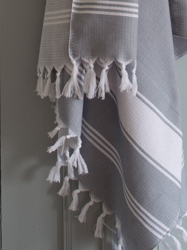 HONEYCOMB TOWEL GREY/WHITE