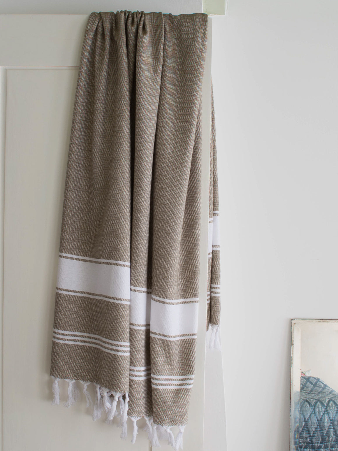 HONEYCOMB TOWEL OLIVE/WHITE