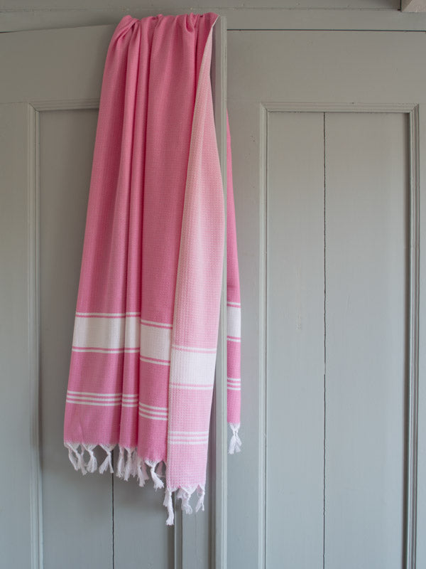 HONEYCOMB TOWEL SORBET PINK/WHITE