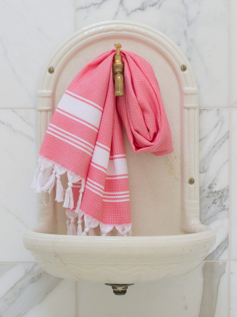 SMALL HONEYCOMB TOWEL CANDY PINK/WHITE