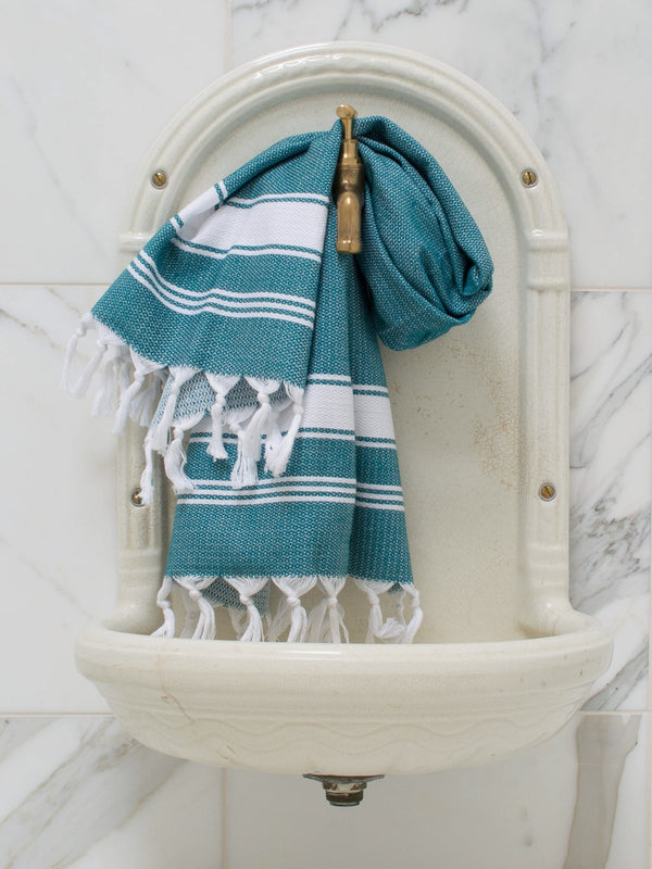 SMALL HONEYCOMB TOWEL PETROL/WHITE