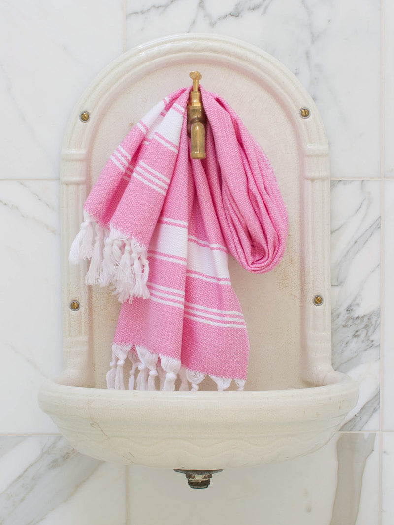 SMALL HONEYCOMB TOWEL SORBET PINK/WHITE