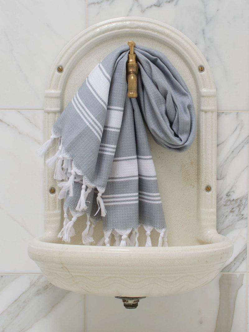 SMALL HONEYCOMB TOWEL GREY/WHITE