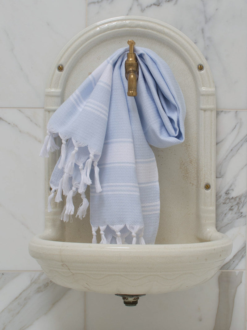 SMALL HONEYCOMB TOWEL LIGHT BLUE/WHITE