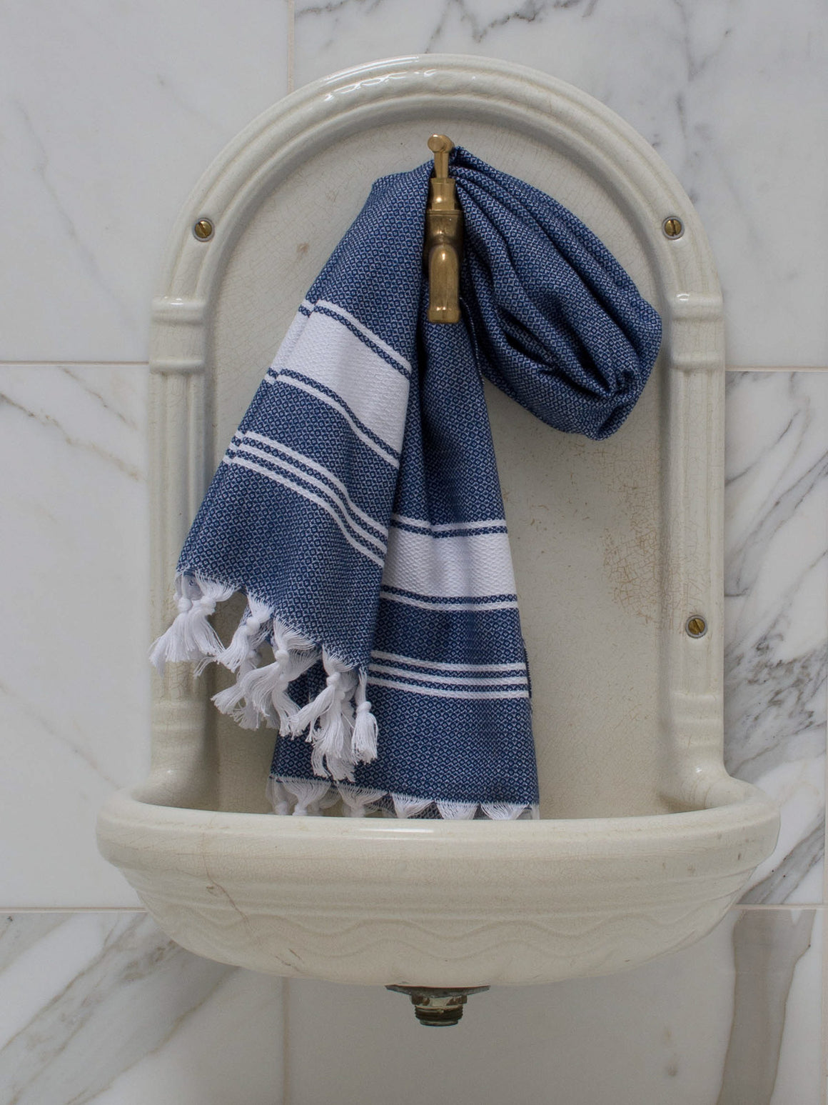 SMALL HONEYCOMB TOWEL NAVY BLUE/WHITE