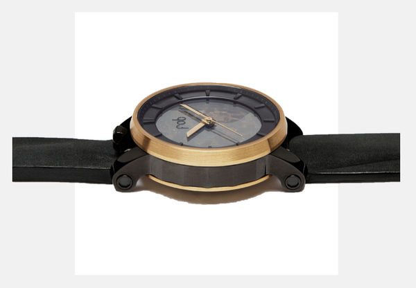 R360 GOLD WRIST WATCH with Black Suede Strap