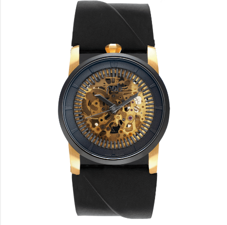 R413 GOLD WRIST WATCH with Black Vachetta Strap