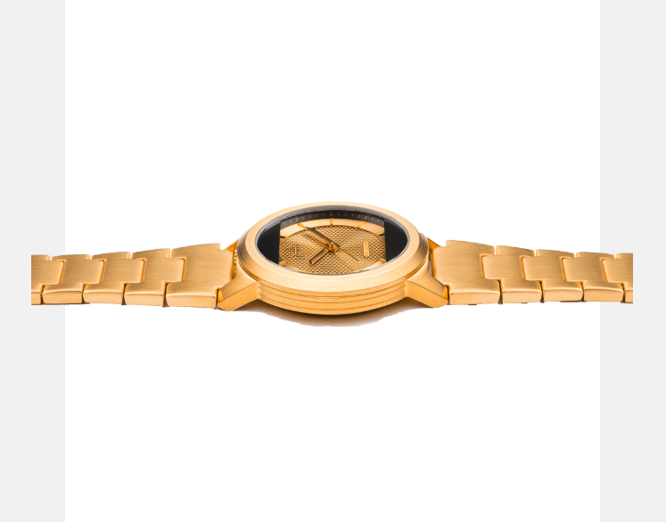 RED SOLAR GOLD WRIST WATCH with GOLD CHAIN STRAP