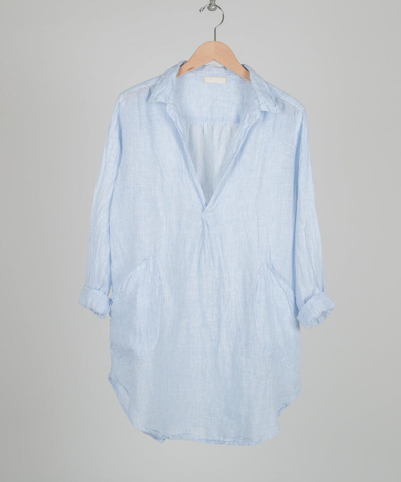 TETON LINEN TUNIC in WHITE/BLUE PINSTRIPES