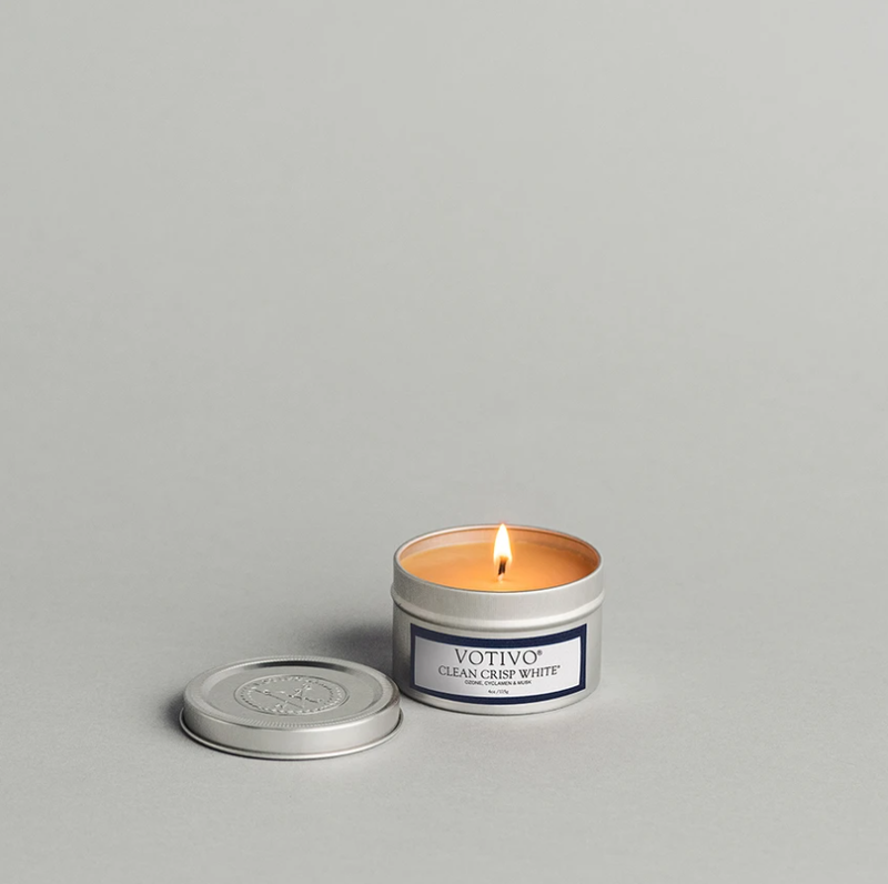 CLEAN CRISP WHITE TRAVEL TIN CANDLE