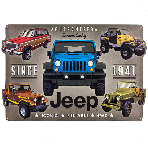 Tin Jeep Collage Sign