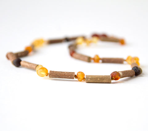 Hazelwood with Raw Unpolished Baltic Amber for Adult/Children/Baby Jewelry - Necklace, Bracelet & Anklet | www.hippiehoopla.com