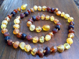 "Raw Unpolished Baltic Amber Infant to Adult Jewelry -Necklace, Bracelet & Anklet -Rainbow, 7""-24"""
