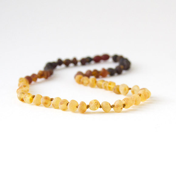 Raw Unpolished Baltic Amber Infant to Adult Jewelry -Necklace, Bracelet & Anklet -Dark Ombre, 7