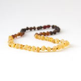 "Authentic Raw Unpolished Baltic Amber Infant/Children/Adult Jewelry - Necklace, Bracelet & Anklet - Dark Colored Ombre, sizes 7""-24"""