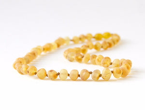 "Unpolished Baltic Amber Infant to Adult Jewelry -Necklace, Bracelet & Anklet -Lemonade/Light, 7""-24"""