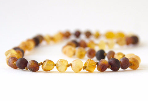 "Authentic Raw Unpolished Baltic Amber Infant/Children/Adult Jewelry - Necklace, Bracelet & Anklet - Rainbow Connection, sizes 7""-24"""