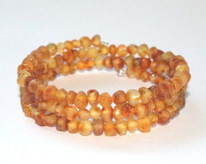 Authentic Raw Unpolished Baltic Amber Children/Adult Jewelry - Bangle Bracelet - medium color