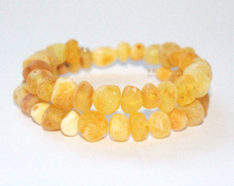 Authentic Raw Unpolished Baltic Amber Children/Adult Jewelry -Chunky Bangle Bracelet -Light-colored