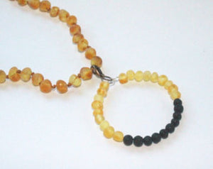 Raw Unpolished Baltic Amber Pendant w/Lava Stone Diffuser - Kids & Adult Jewelry Charm - Lemonade