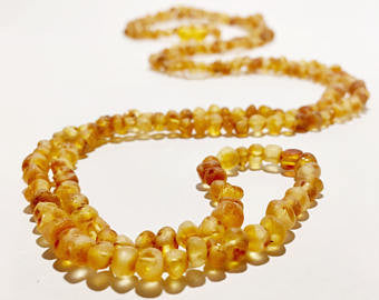 Raw Unpolished Baltic Amber Children/Adult Jewelry -SUPER SLIM Wrap Necklace -Medium-colored, 4ft