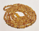 Authentic Raw Unpolished Baltic Amber Children/Adult Jewelry - SUPER SLIM Wrap Necklace - Medium-colored, size 4ft long