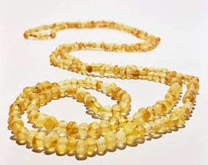 Raw Unpolished Baltic Amber Children/Adult Jewelry -SUPER SLIM Wrap Necklace -Lemonade/light, 4ft