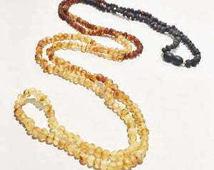 Authentic Raw Unpolished Baltic Amber Children/Adult Jewelry -SUPER SLIM Wrap Necklace -Ombre, 4ft