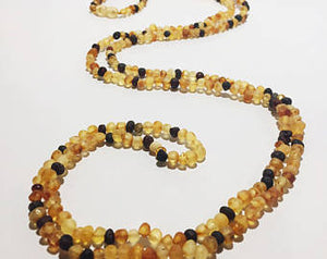 Raw Unpolished Baltic Amber Children/Adult Jewelry -SUPER SLIM Wrap Necklace -Multi- colored, 4ft