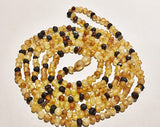 Authentic Raw Unpolished Baltic Amber Children/Adult Jewelry - SUPER SLIM Wrap Necklace - Multi- colored, size 4ft long