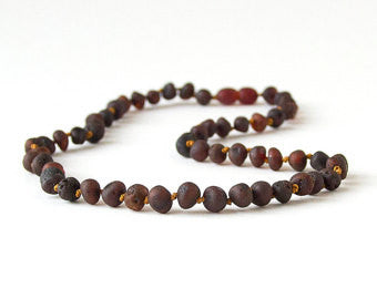 Raw Unpolished Baltic Amber Infant to Adult Jewelry-Necklace, Bracelet & Anklet- Dark Cherry,7
