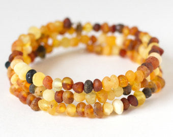 Authentic Raw Unpolished Baltic Amber Children/Adult Jewelry - Bangle Bracelet - Multi-colored