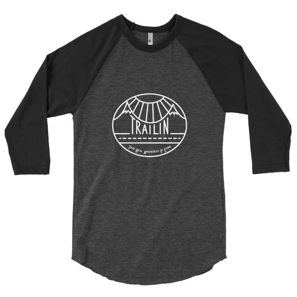 TRAILin Baseball 3/4 sleeve unisex raglan shirt - white