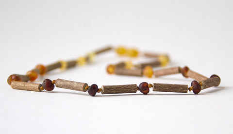"Hazelwood with Raw Unpolished Baltic Amber for Adult/Children/Baby Jewelry - Necklace, Bracelet & Anklet - Rainbow Connection, sizes 7""-24"""