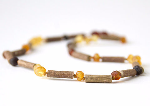 "Hazelwood with Raw Unpolished Baltic Amber for Adult/Children/Baby Jewelry - Necklace, Bracelet & Anklet - Multi-coloreded, sizes 7""-24"""