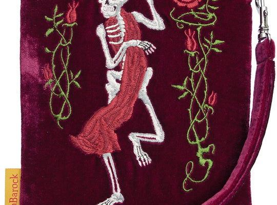 pouch, embroidered, gothic, silk velvet, skeleton, tarot bag, wristlet