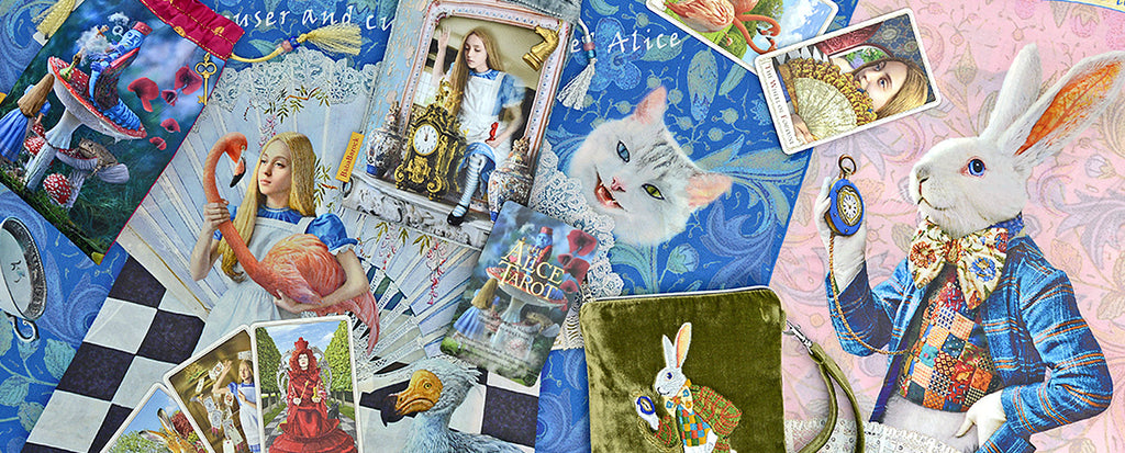 alice in wonderland tarot, looking glass tarot cards, alice tarot, white rabbit, mad hatter, red queen