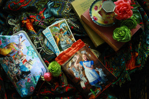 The Alice Tarot, Alice in wonderland tarot, wonderland tarot, alice tarot bag, white rabbit, alice and the shower of cards